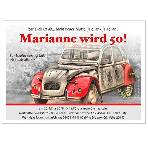 witzige Einladung zum Geburtstag - mit Ihrem Text - jedes Alter möglich - 30. 40. 50. 60. - altes Auto Ente, 90 Karten - 21 x 14,8 cm DIN A5