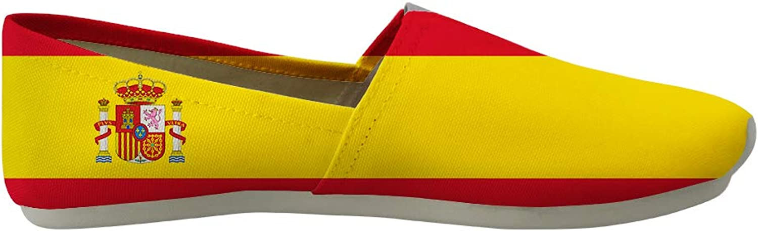 Owaheson Classic Canvas SlipOn Lightweight Driving shoes Soft Penny Loafers Men Women Spain Flag