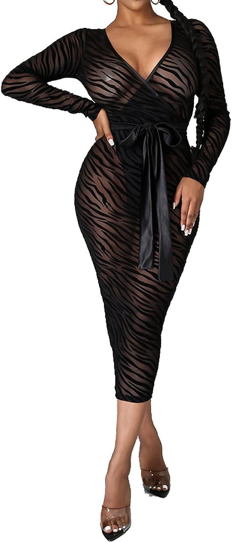 Women Midi Bodycon Dress Long Sleeve Elegant Sexy Floral Print V Neck Club Pencil Dresses