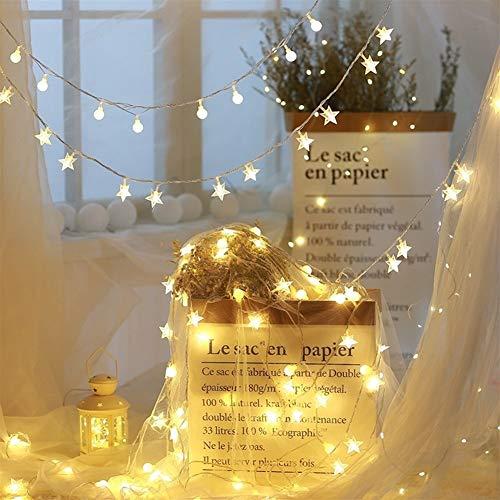 Stella luci della stringa, stringa della sfera di luci, batteria, luci stringa caricatori USB 10M, 80LED for Fiaba Camere da letto, decorazione Wedding, Natale, compleanno, al coperto ed esterni (bian
