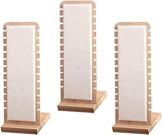 F Fityle 3pc White Stylish Necklace Display Stand Holder Storage Leather Surface