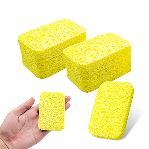 MAXSELL 50 Pack Cellulose Cleaning Scrub Sponges,Non-Scratch Kitchen Cellulose Dish Washing Sponge for Kitchen Bathroom (Yellow)