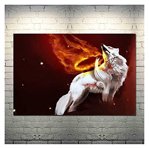 CBYLDDD Okami Fire Wolf Dios Hot Hot Art Art Silique Cartel Poster PULSIMIENTO para LA CUADA DE VIVIENDO Decoración de la Pared 16x24in Sin Marco