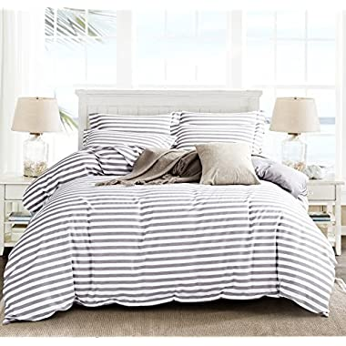 Microfiber Duvet Cover Set,Striped Duvet Cover,Contrast 2 Tone Reversible Design,Zipper Closure,Queen Grey 90 by 90 inch