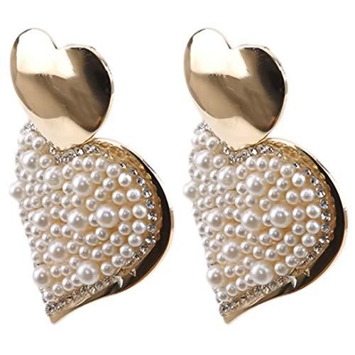 ZSDFW Pendientes artificiales para mujer, con diamantes de imitación, para mujer y niña, con forma de corazón