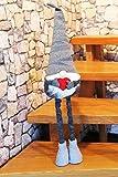 KAMACA Deko WICHTEL mit Teleskop-Beinen bis zu 80 cm hoch tolle Dekoidee in Winter Weihnachten (Teleskop Wichtel grau mit rotem Herz 80 cm)