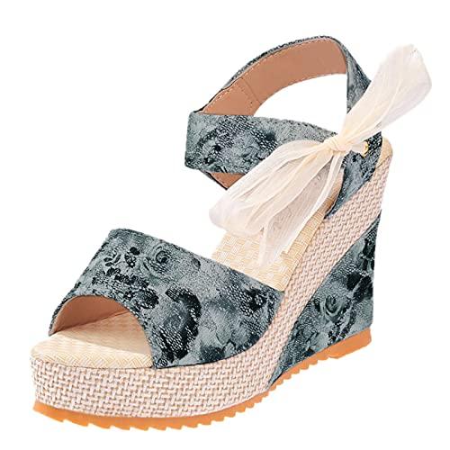 Zapatos de Boda Cena Sandalias de Vestir cuñas Esparto Sandalias Mujer Plataforma...