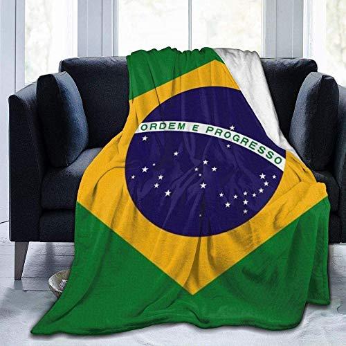 YuLiZP Decke Wohn Kuscheldecken Brasilien Flagge Grün Werfen Sie Wohnzimmer/Schlafzimmer/Sofa Couch Warm Travel Super Fluffy Massivbettdecke Für Kinder Erwachsene Die Ganze Saison 80X60 Inches