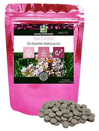 Baldrian / 90 Tabletten von 510mg / NAKURU Entspannen/Bio-Pulver getrocknet und kalt gepresst/Analysiert und konditioniert in Frankreich /