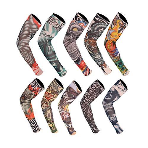 10 Stück Tattoo Arm Ärmel Tattoo Armstrumpf Tatoo Armstrümpfe Arm Tattoo Strumpf Unisex Nylon Temporäre Tattoos Arm Tätowierung Tattoo Strumpf Arm für Karneval Fasching Party (A)