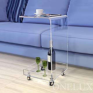 ONELUX C Shaped Waterfall Acrylic Occasional Side Tray Table On Wheels, Rolling Sofa Tea Tables