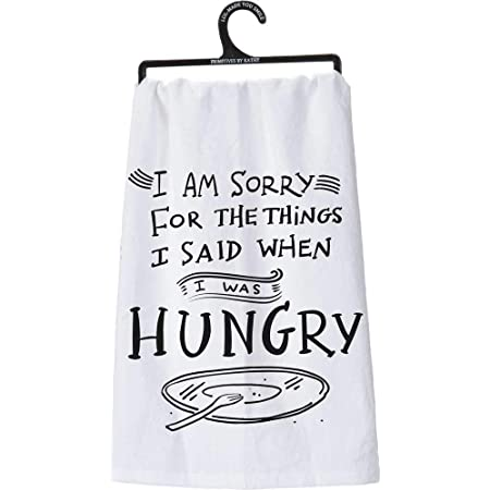 I/'m Hungry But Not Hungry Hungry Machine Embroidered Kitchen Towel