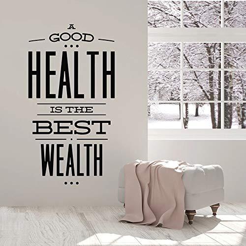Calcomanía de pared salud mejor riqueza sala de estar dormitorio decoración del hogar vinilo pegatina de vidrio arte texto Mural