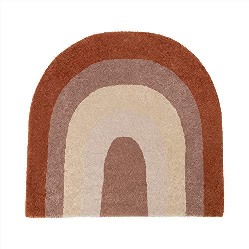 OYOY Mini alfombra para habitación infantil Rainbow Rug Niño/niña – marrón/beige/rojo tonos 88 x 90 cm lana mezcla de algodón