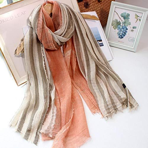 ZAMi Gestreifte Batik farbblockierende Wollschal Lange weibliche Frühling und Herbst Winter dünne Schal Retro literarischen Freizeit Schal-Orange