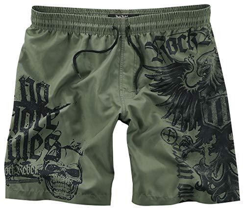 Rock Rebel by EMP Swimming Time Männer Badeshort Oliv L 100% Polyester Basics, Rockwear