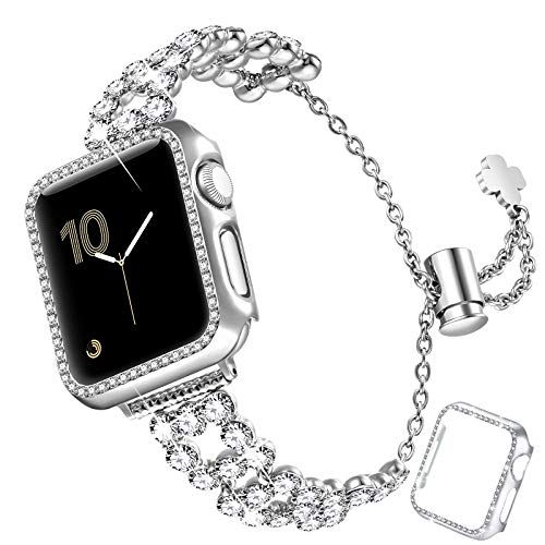 fastgo Bling Band Compatible with Apple Watch 38mm/40mm/42mm/44mm with Case Women, Jewelry Glitter Metal Rhinestone Bracelet Replacement Strap Cover for iWatch SE Series 6/5/4/3/2/1(Silver-40mm)