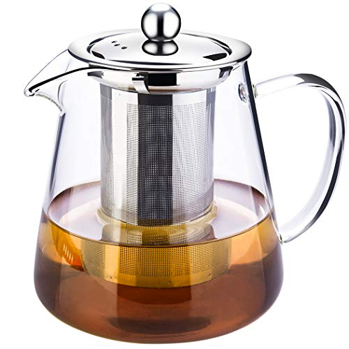 Glass Tea Pot with Infuser Stainless Steel Loose Tea and Blooming Tea - microwavable and Stove top Safe- Tea Strainer with Capacity 750ml 25 Qz