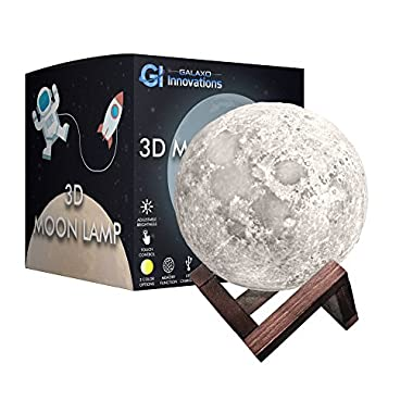 Galaxo 3D Moon Lamp 5.9 inch with Dark Wooden Stand, 3 LED Color Options, Adjustable Brightness, Touch Control, USB Charging, Gift Box, Modern Night Light