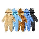 Dourbesty Newborn Baby Girl Boy Cartoon Bear Snowsuit Cotton Fleece Hooded Onesies Romper Jumpsuit Fall Winter Clothes (A-Dark Blue, 6-9M)