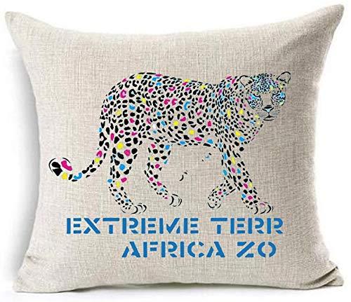 Bernice Winifred Acuarela Bosque Reptil Elefante Caballo Leopardo algodón Lino Tiro Fundas de Almohada Funda cojín sofá Decorativo Cuadrado (6) -3(18×18)