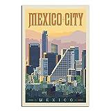 RQSY Póster vintage de viaje de la Ciudad de México en lienzo de la ciudad de México, cuadro moderno para oficina, familia, dormitorio, póster decorativo de 30 x 45 cm