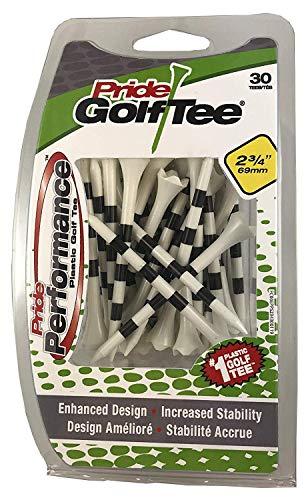 PRIDE GOLF Tee Pride Performance gestreifte Golf-Tees (30 Stück), 7,9 cm, Weiß