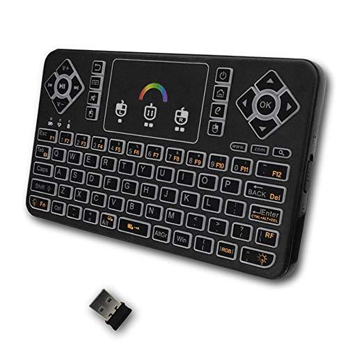 Andoer Q9 2.4G RF Teclado sem fio e controle remoto portátil com touchpad colorido LED Backlight para Android HTPC Tablet PC Smartphone