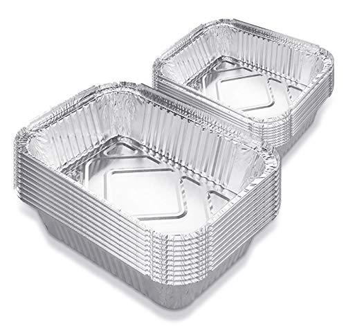 DMFSHI Bandeja de Papel Desechable, Bandejas de Papel de Aluminio, 20 PCS Bandejas Cuadradas de Papel de Aluminio de 700 ml, 1100 ml para Hornear, Cocinar, Almacenar, Asar, Asar y Congelar