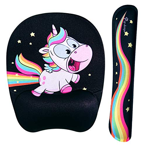 Crazy Flying Rainbow Unicorn Wrist Rest Support for Keyboard & Mouse Pad Combo with Comfortable Memory Foam Padding and Ergonomic Design for PC Computer Laptop Mac - Bring Back The Fun