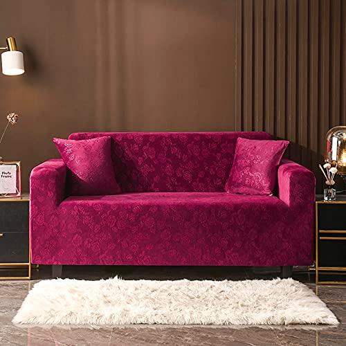 ASCV Einfarbig Plüsch verdicken elastische Sofabezug Universal Sectional Slipcover Stretch Couch Bezug für Wohnzimmer A5 4-Sitzer