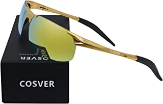 COSVER Mens Polarized Sunglasses for Men Sports Driving Cycling Running Fishing Golf Unbreakable Metal Frame Ultra Light