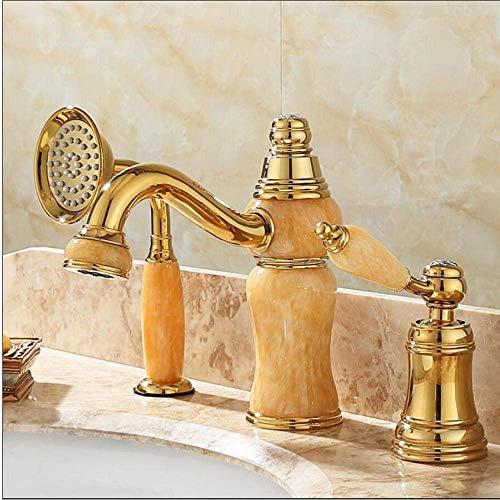 DJY-JY Grifo de la bañera grifo latón oro cubierta baño grifo conjunto 3 unids latón y jade ducha mano lavabo mezclador ducha conjuntos para baño
