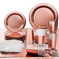 vainechay 152 pezzi stoviglie per feste compleanno ragazza oro rosa piatti per stoviglie usa e getta carta per matrimoni stoviglie tazza di carta tovagliolo in oro rosa tovagliolo, 25 ospiti