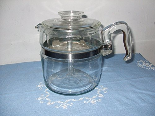 VINTAGE Corning Pyrex Flameware 6 Cup Percolator Coffee Pot