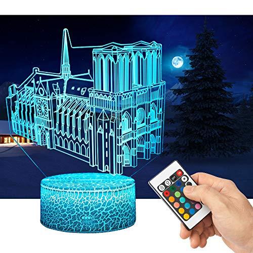 QiLiTd LED Lámpara de Mesa 3D Notre Dame de Paris con Control Remoto Sensor Tacto, Regulable Lámpara de Noche de Atmósfera Modo RGB, Decoracion Cumpleaños, Navidad Regalos de Mujer Bebes Hombre Niños
