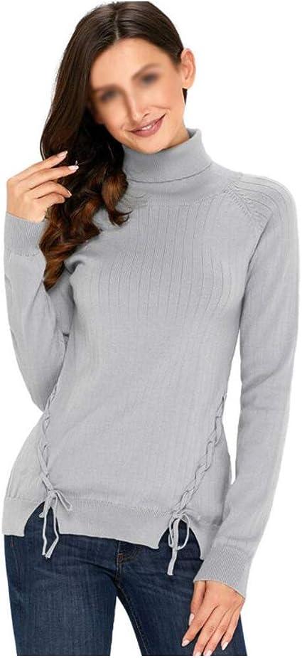 jersey Cuello Alto Mujer Suéter Sudadera Suelto Tejer Color ...