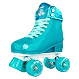 Crazy Skates Adjustable Roller Skates for Girls and Boys - Glitter Pop Collection - Size Adjustable to fit Four Sizes - Teal (Size: Medium | US Mens 3-6 | US Ladies 3-6 | EU 35-38)