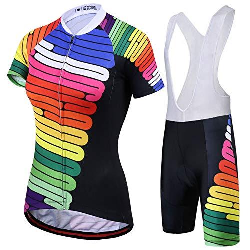 WPW Conjunto de Maillot de Ciclismo para Mujer, Camisetas de Manga Corta...