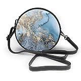 BAODANLA Bolso redondo mujer Women's Round Vegan Leather Crossbody Satchel Shoulder Bag Marble Gold Blue Circle Tote Shopping Bag For Girls Sling Bag