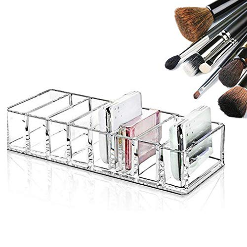 Organizador de Maquillaje Acrílico,Caja para Cosméticos,Caja De Almacenamiento de Cosméticos De Maquillaje Transparente,8 Compartimentos,para Sombras de Ojos,Polvos,Lápiz Labial