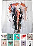 arteneur® - Bunter Elefant Rot - Anti-Schimmel Duschvorhang 180x200 mit Öko-Tex Standard 100 - Beschwerter Saum, Blickdicht, Wasserdicht, Waschbar, 12 Ringe und E-Book