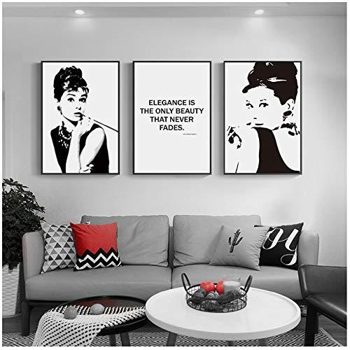 """Preisvergleich Produktbild YANGMENGDAN Druck auf Leinwand Schwarz Weiß Audrey Hepburn Wandkunst Leinwand Malerei Poster und Drucke Wandbild für Wohnzimmer Dekor 15, 7""""x 23, 6"""" (40x60cm) x3 Kein Rahmen"""