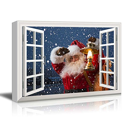 wall26 - Canvas Print Wall Art - Window Frame Style Wall Art - Santa Claus Carrying Gifts Coming on Christmas Eve | Giclee Print Modern Home Decor. Stretched & Ready to Hang - 24' x 36'