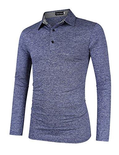 Yong Horse Herren-Polo-Shirt, lässig, Dry Fit, langärmelig - Blau - Mittel
