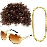 Conjunto de Disfraces Hippies Peluca Afro de Moda Collar de Gafas de Sol para Fiesta Temática de los Años 50/60/70 (Estilo A)