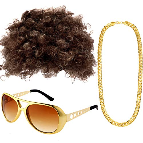 Gejoy Hippie Costume Set Funky Afro Wig Sunglasses Necklace for 50/60/70s Theme Party (Style A), gold, Medium