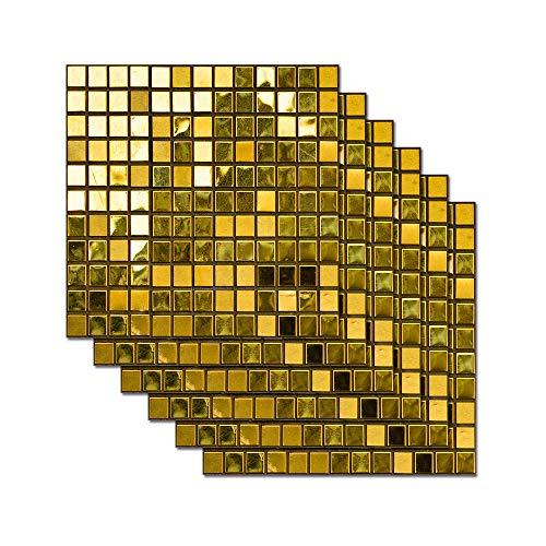 Impermeabile Adesivi Per Piastrelle Bagno Cucina Backsplash 8X8 Pollici Autoadesivo Mosaico Di Pietra Delle Mattonelle Decalcomanie Per Pareti Scale Decor Carte Da Parati (24Pcs/Set),D\'oro
