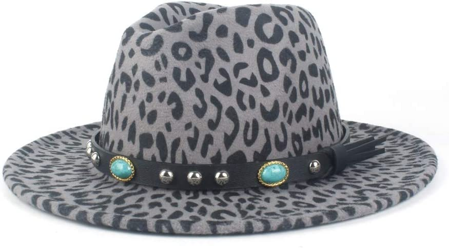 LHZUS Hats Fashion Men's Women's Autumn Winter Casual Hats Wool Polyester Fedora Hat Turquoise Leather with Jazz Hat (Color : Gray, Size : 56-58cm)