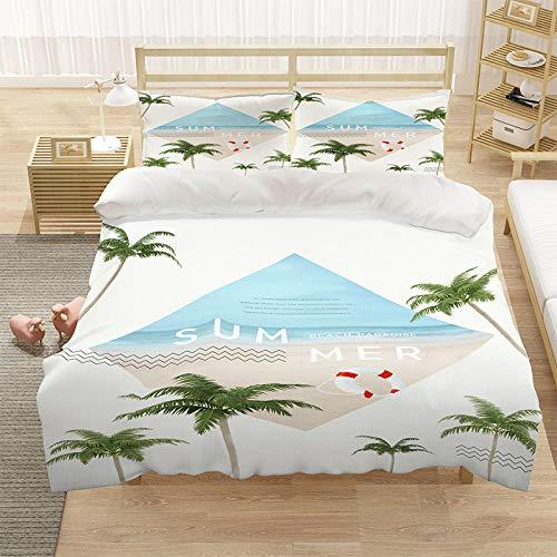 Bedclothes-Blanket Cubierta de una Sola Colcha 3D Cubierta para niños Impresos 3 Piezas de Cama de Paisaje oceánico, Cierre de Cremallera y Cierre con 2 Fundas de Almohadas-2_220 * 260cm